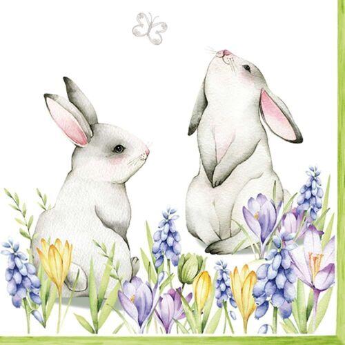 Linoows Papierserviette »20 Servietten, Ostern, Hasen Pärchen auf der Frühl«, Motiv Ostern, Hasen Pärchen