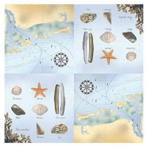 Linoows Papierserviette »20 Servietten Maritim, Muscheln, Meerestiere und«, Motiv Maritim, Muscheln, Meerestiere und Landkarte