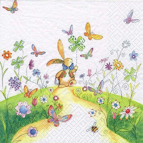 Linoows Papierserviette »20 Servietten, Ostern spazierender Hase auf blühen«, Motiv Ostern spazierender Hase auf blühender Wiese