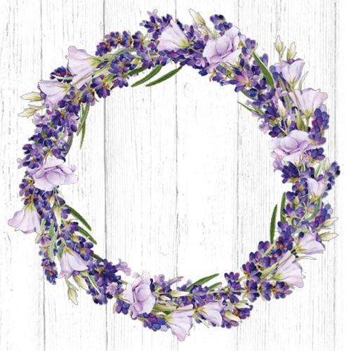Linoows Papierserviette »20 Servietten, Lavendelkranz, Lavendel und Prunkwi«, Motiv Lavendelkranz, Lavendel und Prunkwinde