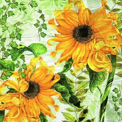 Linoows Papierserviette »20 Servietten, Gelbe Sonnenblumen und grünes Weinl«, Motiv Gelbe Sonnenblumen und grünes Weinlaub