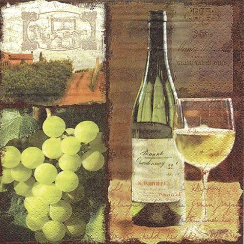 Linoows Papierserviette »20 Servietten, Weißwein Flasche und Glas, Gastro«, Motiv Weißwein Flasche und Glas, Gastro Servietten