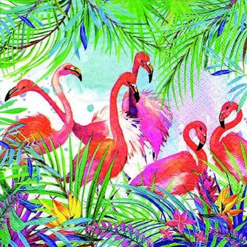 Linoows Papierserviette »20 Servietten Sommer, Cocktail Bar, Flamingo und«, Motiv Karibik, Sommer, Flamingo und Pflanzen
