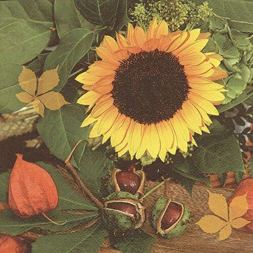 Linoows Papierserviette »20 Servietten, Kastanien & Sonnenblumen, Bunte«, Motiv Kastanien und Sonnenblumen, Bunte Herbstszene