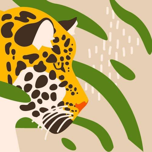 Paper+Design Papierserviette »Leoparden Kopf«, (5 St), 33 cm x 33 cm