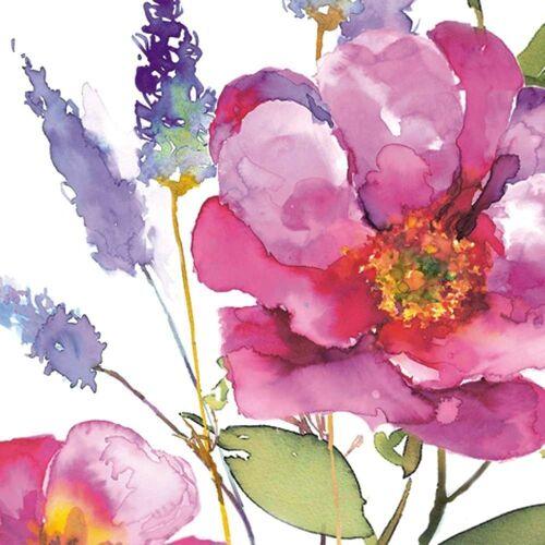 Linoows Papierserviette »20 Servietten Sommer, Lavendel und Große Rosen«, Motiv Sommer, Lavendel und Große Rosen