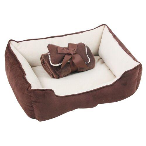 PETGARD Tierbett »Hundebett Hundekissen Hundekorb Hundesofa«, inkl. Spielknochen & Kuscheldecke grün-weiss, braun