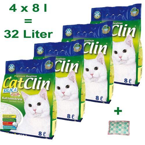 CatClin Katzenstreu »Katzenstreu Silikat Streu 4 x 8 Liter Plus 4Cat Baldrian Kissen«