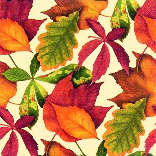 Linoows Papierserviette »20 Servietten, Buntes Herbstlaub auf Baige, Herbst«, Motiv Buntes Herbstlaub auf Baige, Herbstszene