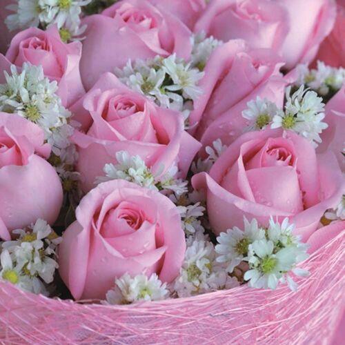 Linoows Papierserviette »20 Servietten, Alicia Rose im Gesteck, Rosen in«, Motiv Alicia Rose im Gesteck, Rosen in zartem Pink