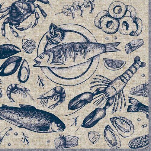 Linoows Papierserviette »20 Servietten, Köstliche Meeresfrüchte, Früchte«, Motiv Köstliche Meeresfrüchte, Früchte des Meeres