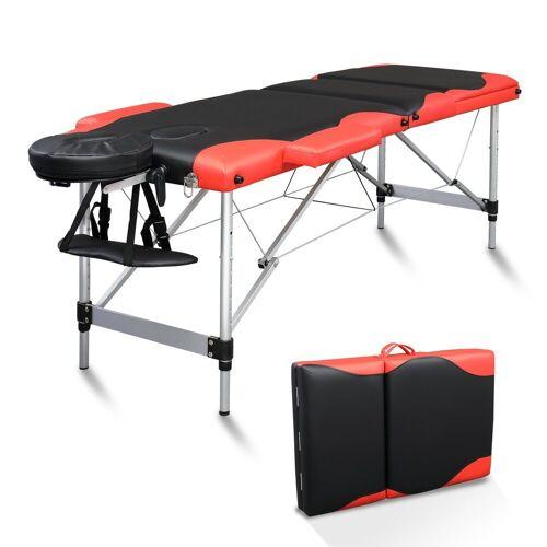 FCH Massageliege »3 Zonen Klappbar Massagetisch« (Set), Mobile Therapieliege Tragbares Massagebett mit Höhenverstellbaren, Rot