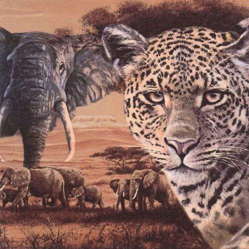 Linoows Papierserviette »20 Servietten Afrika, Leopard und Elefanten in«, Motiv Afrika, Leopard und Elefanten in der Savanne