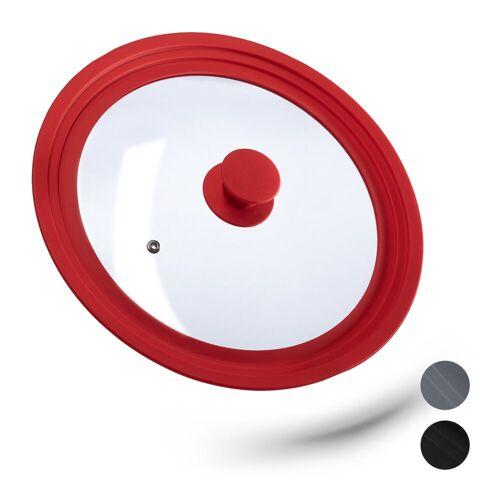 relaxdays Topfdeckel »Topfdeckel 26-30 cm mit Silikon«, Rot
