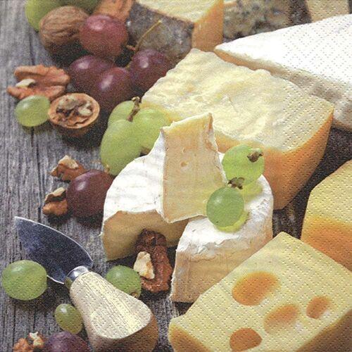 Linoows Papierserviette »20 Servietten Käse, Trauben & Walnüsse, leckeres«, Motiv Käse, Trauben & Walnüsse, leckeres Käse Buffet