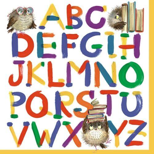 Linoows Papierserviette »20 Servietten Einschulung, Alphabet mit Eulen und«, Motiv Einschulung, Alphabet mit Eulen und Bücher