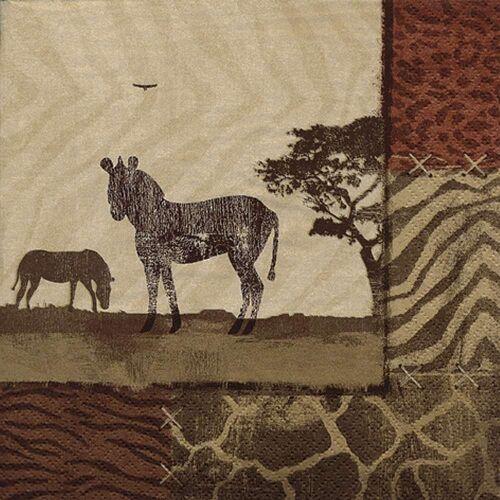 Linoows Papierserviette »20 Servietten Afrika, Zebra, Zebra´s in Savanne«, Motiv Afrika, Zebra, Zebra´s in Savanne