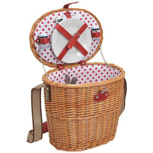 matches21 HOME & HOBBY Picknickkorb »Picknickkorb Weidenkorb oval 11-tlg. Weiß / rot«, Für 2 Personen / Geschirr, Besteck, Zubehör