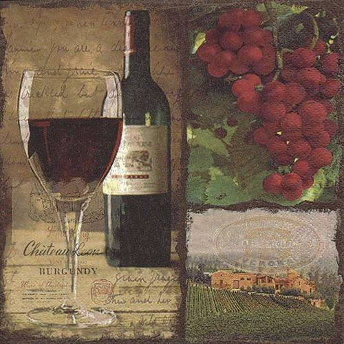 Linoows Papierserviette »20 Servietten, Rotwein Flasche und Glas, Gastro«, Motiv Rotwein Flasche und Glas, Gastro Servietten