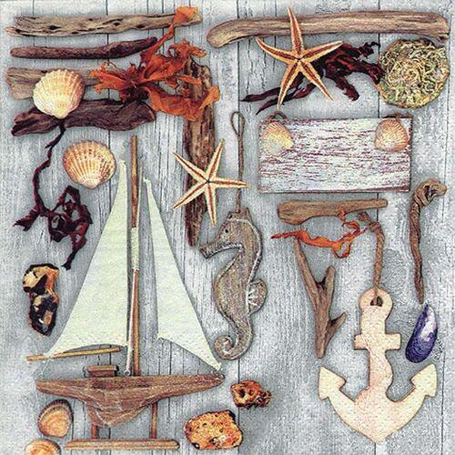 Linoows Papierserviette »20 Servietten Maritim, Treibholz und Maritime«, Motiv Maritim, Treibholz und Maritime Kleinode