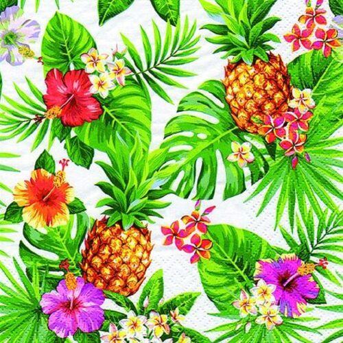 Linoows Papierserviette »20 Servietten Sommer, Tropen, Ananas, Blüten &«, Motiv Sommer, Tropen, Ananas, Blüten und Palmenblätter