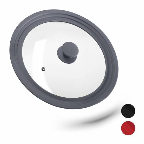 relaxdays Topfdeckel »Topfdeckel 26-30 cm mit Silikon«, Grau