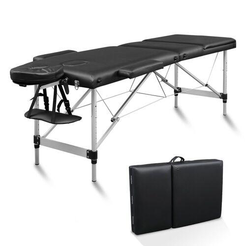 FCH Massageliege »3 Zonen Klappbar Massagetisch« (Set), Mobile Therapieliege Tragbares Massagebett mit Höhenverstellbaren, Schwarz