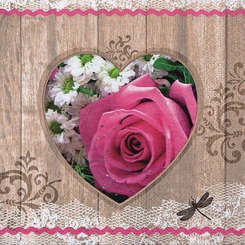 Linoows Papierserviette »20 Servietten Sommer, Herz mit Rosa Rosen und«, Motiv Sommer, Herz mit Rosa Rosen und Blumen