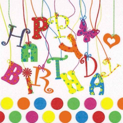 Linoows Papierserviette »20 Servietten Kinderfeier, Geburtstag, Happy Birth«, Motiv Kinderfeier, Geburtstag, Happy Birthday