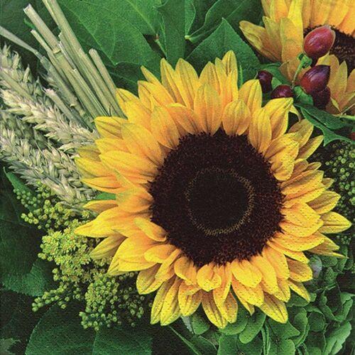 Linoows Papierserviette »20 Servietten Sonnenblumen im Gesteck mit Getreide«, Motiv Sonnenblumen im Gesteck mit Getreide & Stroh
