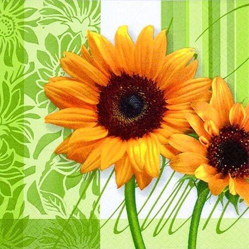Linoows Papierserviette »20 Servietten, Sonnenblumen, Sonnenblumengrün,«, Motiv Sonnenblumen, Sonnenblumengrün, Sommerzeit