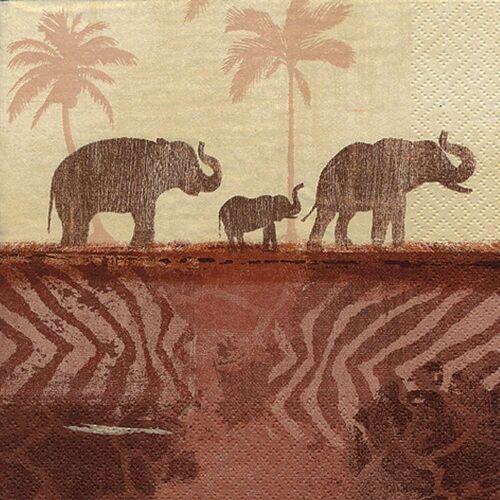 Linoows Papierserviette »20 Servietten Afrika, Aquarell Landschaft mit«, Motiv Afrika, Aquarell Landschaft mit Elefanten