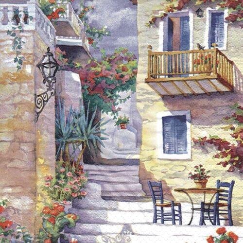 Linoows Papierserviette »20 Servietten Landhausszene, Sonnenbaden in der«, Motiv Landhausszene, Sonnenbaden in der Sommersonne