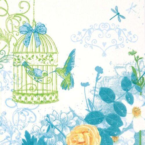 Linoows Papierserviette »20 Servietten, Landhaus Aquarell mit Vogelkäfig«, Motiv Landhaus Aquarell mit Vogelkäfig und Rosen