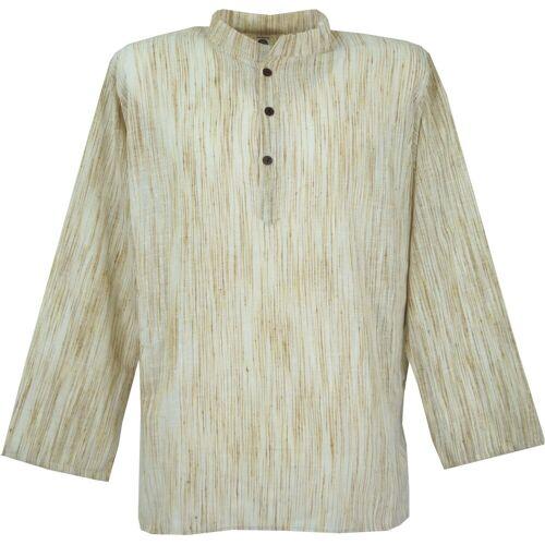 Guru-Shop Hemd & Shirt »Indisches Hemd, kurze Kadhi Kurta, indisches..«, beige M