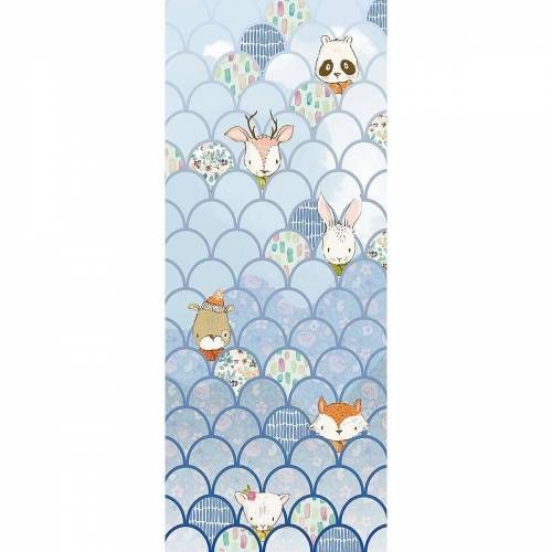 Komar Fototapete »Vlies Fototapete Animals A-Z, Panel, 100 x 250 cm«, blau/weiß