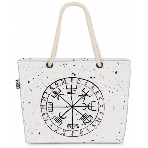 VOID Strandtasche (1-tlg), Runen Wikinger Symbol Runen Wikinger Symbol Wikinger Kelten Wappen Be