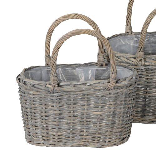 Posiwio Blumentopf »Pflanztasche GREY grau Rattan Rattankorb Tasche zum Bepflanzen Pflanzkorb - KLEIN«