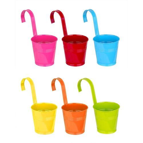 BigDean Blumentopf »6er Set Hängetöpfe aus Zink bunt − Mit Henkel − 21x11 cm − Blau, rot, orange, gelb, grün, rosa − Blumentöpfe zum Hängen« (6 Stück) 11 cm x 21 cm;13 cm x 26.5 cm