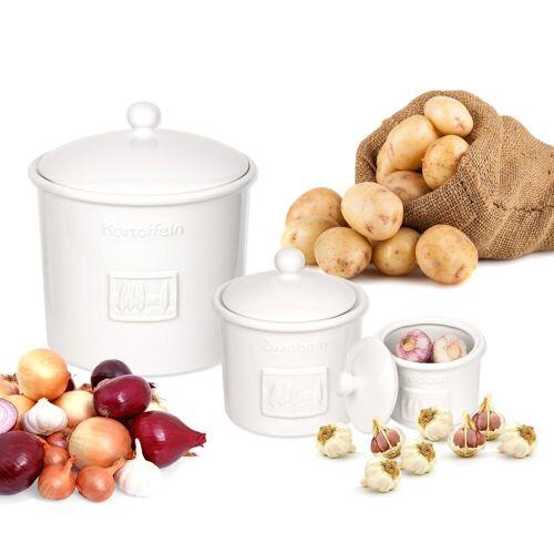 BigDean Gemüsetopf »3er Set Toskana aus Kartoffeltopf, Knoblauchtopf & Zwiebeltopf«
