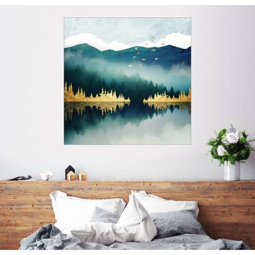 Posterlounge Wandbild, Nebelspiegelung 20 cm x 20 cm;30 cm x 30 cm;40 cm x 40 cm;50 cm x 50 cm;60 cm x 60 cm;70 cm x 70 cm