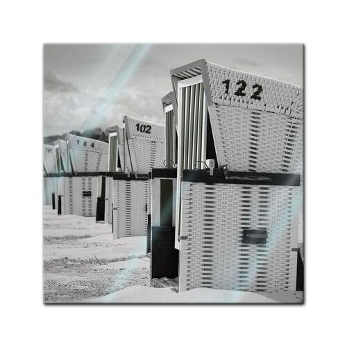 Bilderdepot24 Wandbild, Glasbild - Strandkörbe - schwarz weiss 40 cm x 60 cm;60 cm x 80 cm;30 cm x 30 cm;30 cm x 90 cm;20 cm x 20 cm;90 cm x 30 cm;80 cm x 60 cm;60 cm x 40 cm;40 cm x 120 cm;120 cm x 40 cm;50 cm x 50 cm