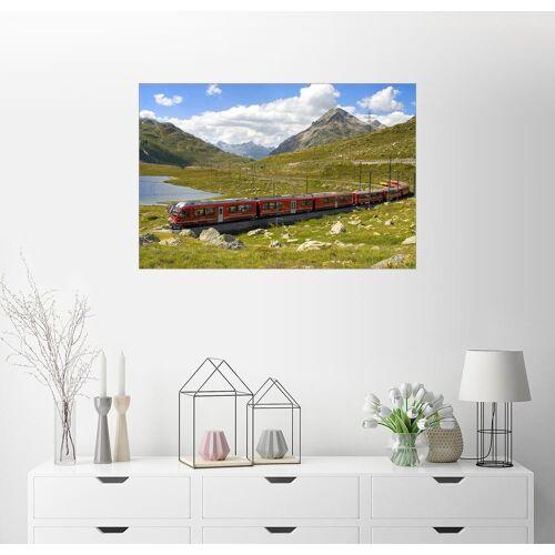 Posterlounge Wandbild, Eisenbahn am Bernina Pass, Schweiz 100 cm x 70 cm;30 cm x 20 cm;60 cm x 40 cm;90 cm x 60 cm