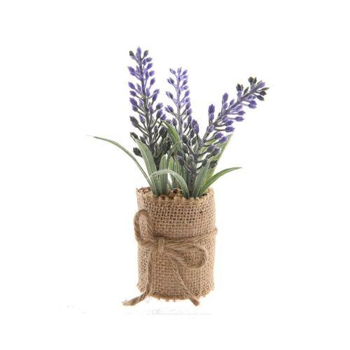 Decoris season decorations Kunstblume, , Kunstblumen Lavendel im Jute Topf 12cm, 1 Stück