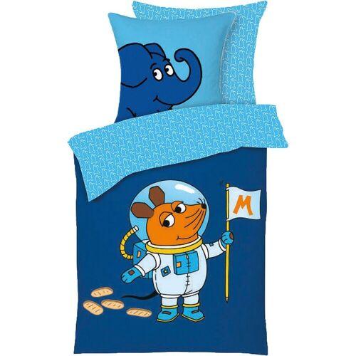 Die Maus Bettwäsche »Bettwäsche - Astronaut, 135 x 200 + 80 x«, , blau