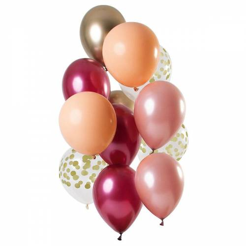 Folat Luftballon »Luftballons Golden Blush 30 cm, 12 Stück«, rot-kombi