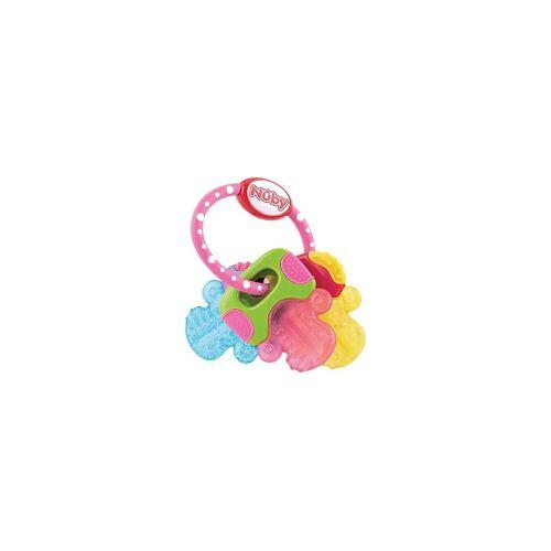 Nuby Beißring »Beißring Schlüssel mit Eisgel, pink«