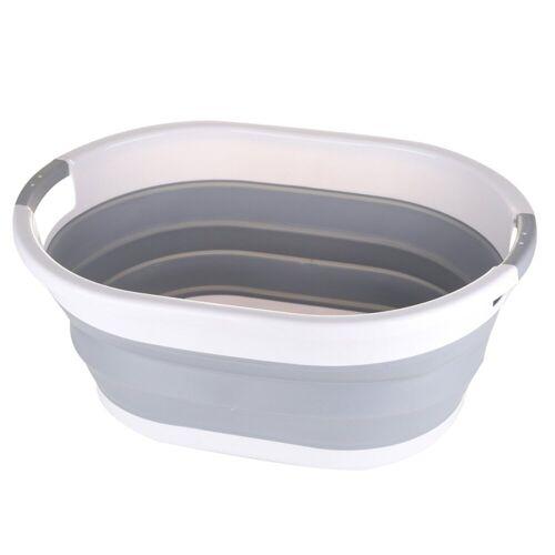 SOSmart24 Wäschekorb »SO SMART Faltbarer Wäschekorb rund aus Plastik - Weiß Grau - 50 L Volumen - Wäschesammler faltbar klappbar Aufbewahrungsbox Camping Laundry basket Plastikwanne Waschkorb groß klein tragbar«