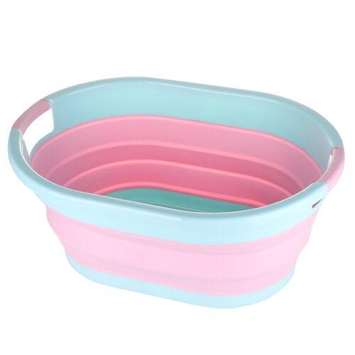 SOSmart24 Wäschekorb »SO SMART Faltbarer Wäschekorb rund aus Plastik - Blau Rosa - 50 L Volumen - Wäschesammler faltbar klappbar Aufbewahrungsbox Camping Laundry basket Plastikwanne Waschkorb groß klein tragbar«