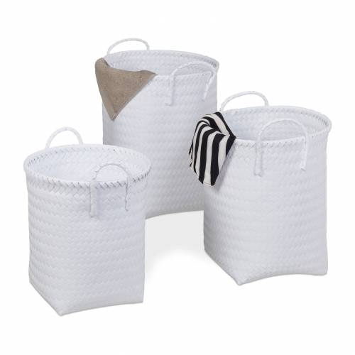 relaxdays Wäschekorb »Wäschekorb geflochten 3er Set«, Weiß